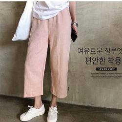 正韓 包色款粉嫩色口袋棉麻長褲