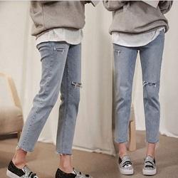 超好穿破洞寬鬆牛仔褲