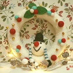 雪人聖誕花圈