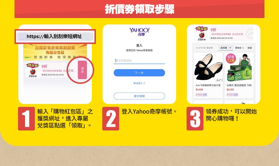 折價券領取步驟:輸入「購物紅包區」之獲獎網址,進入專屬兌獎區點選「領取」。
