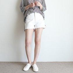 正韓夏季白色短褲