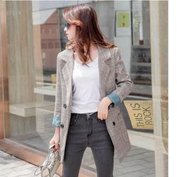 格紋雙排扣外套咖XL~5L
