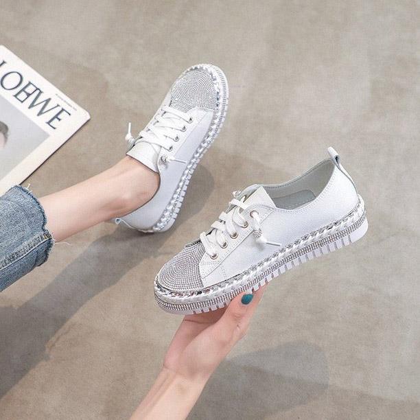 韓系真皮水鑽休閒鞋