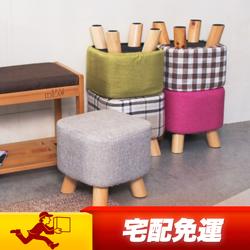 日系亞麻實木矮凳穿鞋椅
