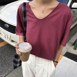 V領亞麻冰絲針織衫