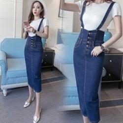韓系中大碼牛仔裙背心裙