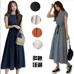 簡約法式收腰寬鬆棉麻連衣裙