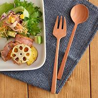天然木製湯匙+叉子