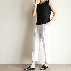 正韓基本款夏季涼薄前褶長褲