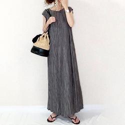 直條紋褶皺連身裙