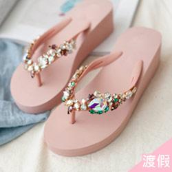 正韓水鑽夾腳楔型拖鞋