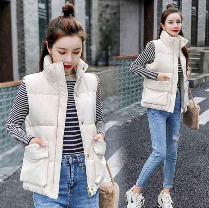 秋冬保暖大口袋加厚棉背心外套