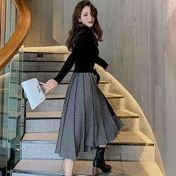 優雅赫本風針織連身裙