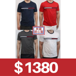 Tommy Hilfiger藍红白LOGO短袖T恤