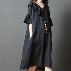 日系純色麻棉荷葉袖寬鬆連身裙