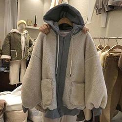 假兩件拼接羊羔毛短連帽外套
