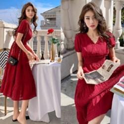 韓系中大碼V領洋裝連身裙