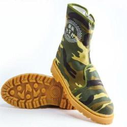 拉鏈式-長筒帆布工作鞋-鞋底鋼片-防穿刺