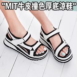 MIT 韓風牛皮製輕量厚底涼鞋