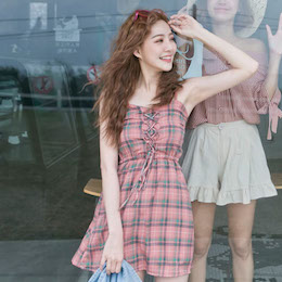 抽繩細肩格紋連身褲裙-2色