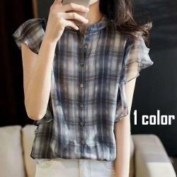 真絲顯瘦格子襯衫4尺寸可選