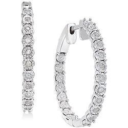 Diamond Hoop Earrings (1/4 ct.) in Sterling Silver