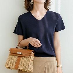純色寬鬆百搭款V領亞麻冰絲針織衫
