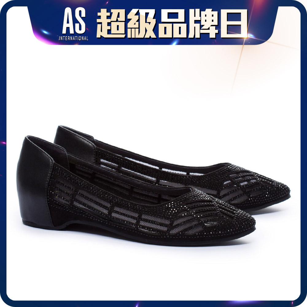 透膚水鑽點綴內增高低跟鞋
