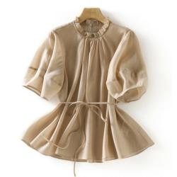 公主風遮肉顯瘦仙氣泡泡袖上衣