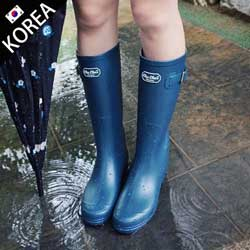 簡約時尚粗跟厚底雨靴