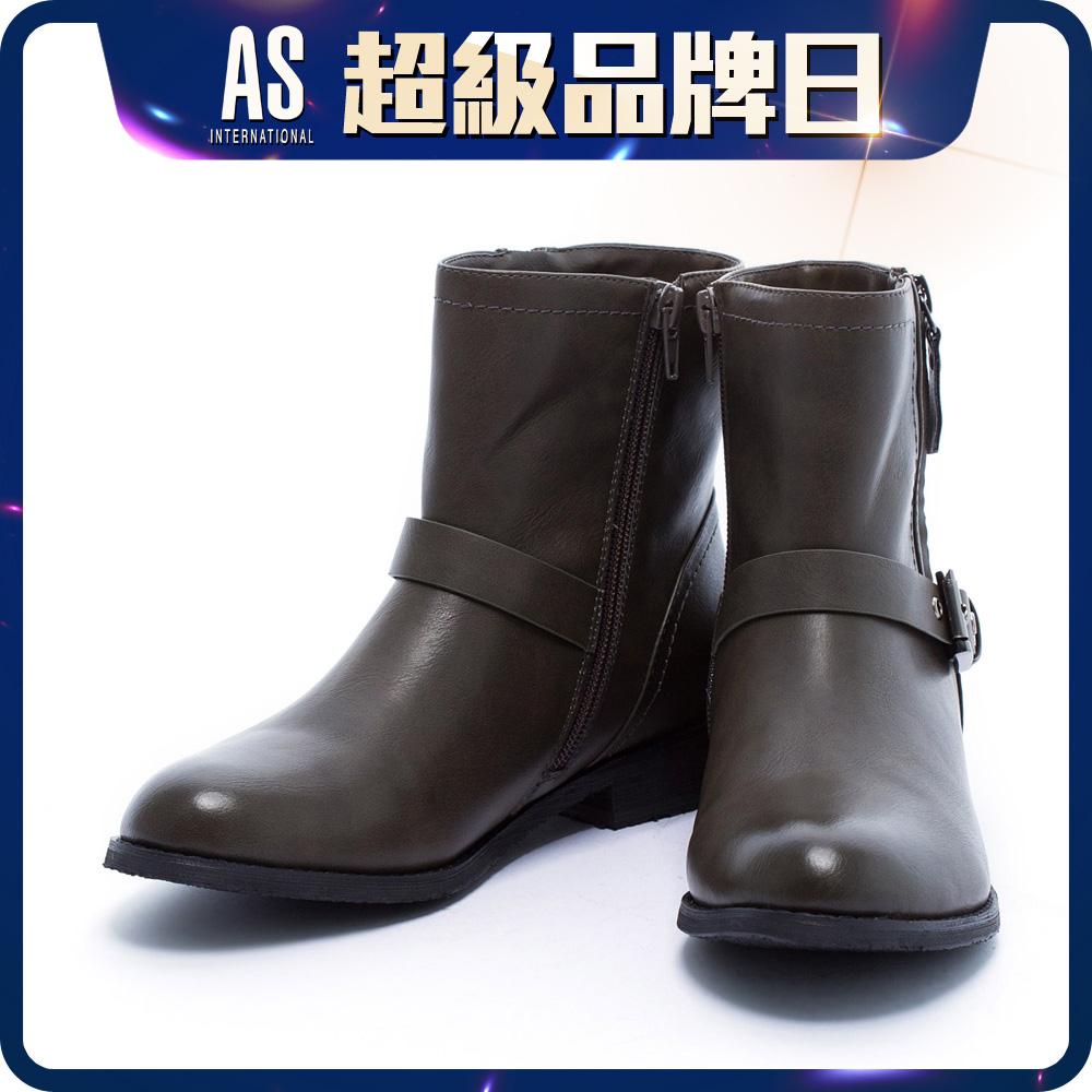 金屬釦帶皮革短靴