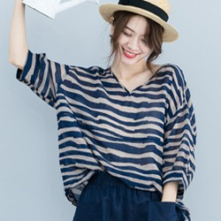 文藝日系棉麻條紋印花寬鬆上衣