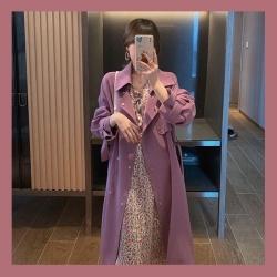 超美violet紫羅蘭翻領顯瘦風衣
