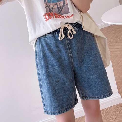 bf風寬鬆顯瘦直筒牛仔中褲