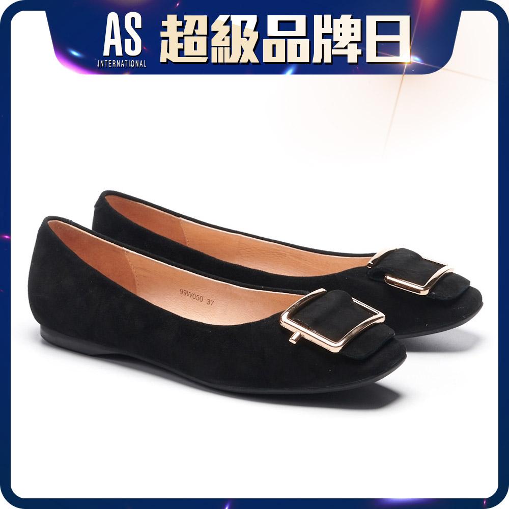金屬反折帶釦真皮平底鞋