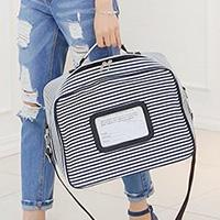 鎖扣條紋時尚行李袋