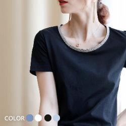 手工領口珠鏈條80支雙絲光棉T恤