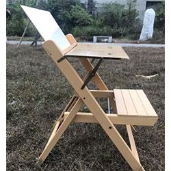原木製兒童折合書桌椅