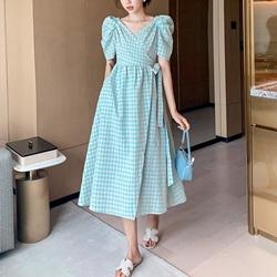韓時尚氣質公主泡泡袖長洋裝