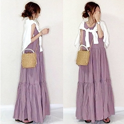 圓領無袖褶皺背後綁帶連身裙