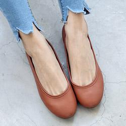 原色輕柔羊皮平底鞋