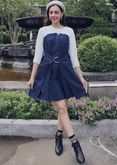 OUWEY歐薇 俏皮繫腰帶假兩件洋裝(桔/藍)