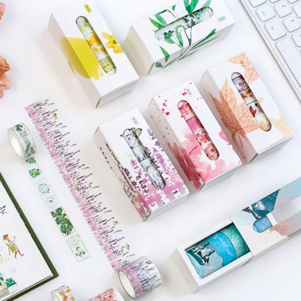 花語系列盒裝和紙膠帶(5入裝)