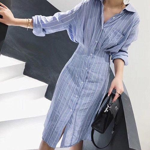直條紋顯瘦長袖洋裝