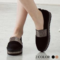 韓國牛皮水鑽厚底鞋