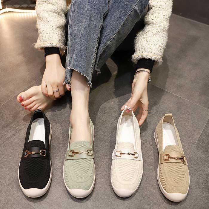 韓國同步上透氣網布軟底樂福鞋
