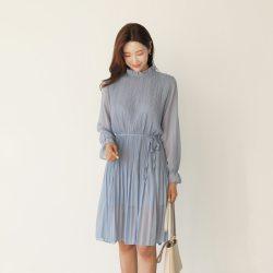 韓國春裝甜美雪紡百摺洋裝