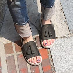 好穿一字流蘇3cm厚底涼鞋