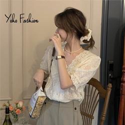 法式V領氣質寬鬆蕾絲上衣