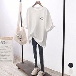 【時時樂】韓版純色笑臉寬鬆T恤